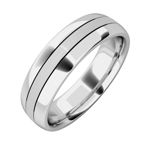 A classic courted mixed finish mens wedding ring in palladium