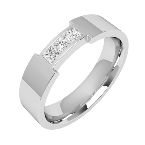 An eye catching Princess Cut diamond set mens ring in 18ct white gold