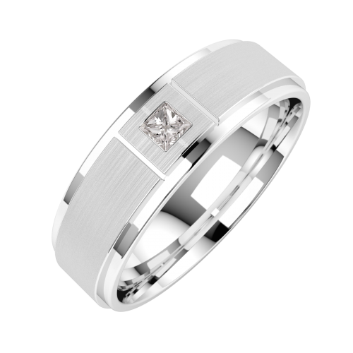 A striking Princess Cut diamond set mens ring in palladium (In stock)