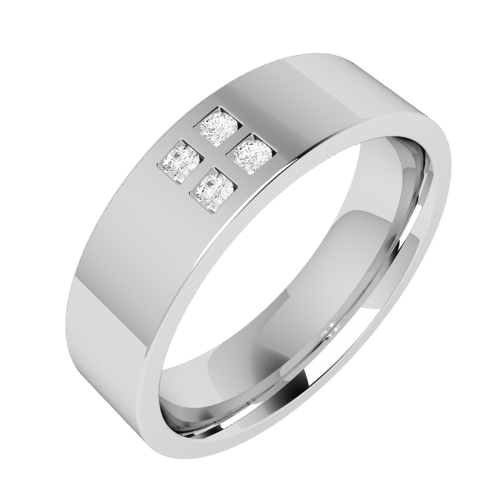 A striking Round Brilliant Cut diamond set mens ring in palladium