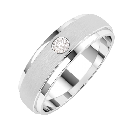 A classic Round Brilliant Cut diamond set mens ring in palladium