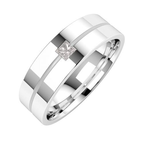A classic Princess Cut diamond set mens ring in palladium