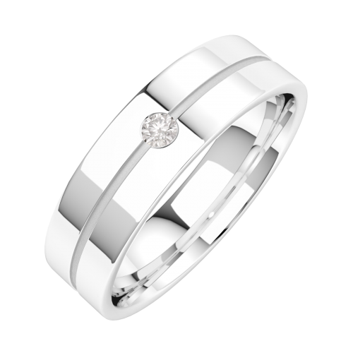 A classic Round Brilliant Cut diamond set mens ring in platinum