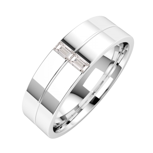 A striking Baguette Cut diamond set mens ring in 18ct white gold