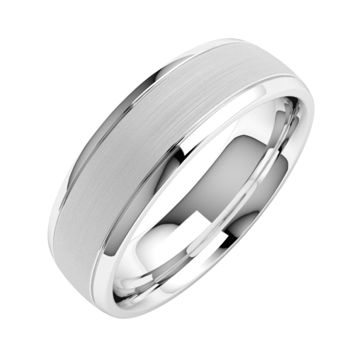 A stylish mixed finish courted mens ring in 18ct white gold