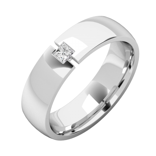A striking Princess Cut diamond set mens ring in platinum