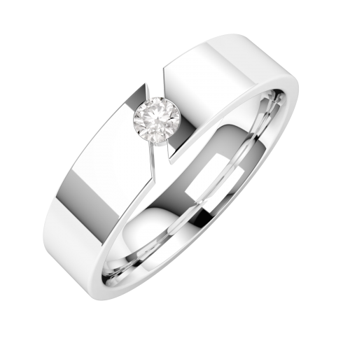 An eye catching Round Brilliant Cut diamond set mens ring in 18ct white gold