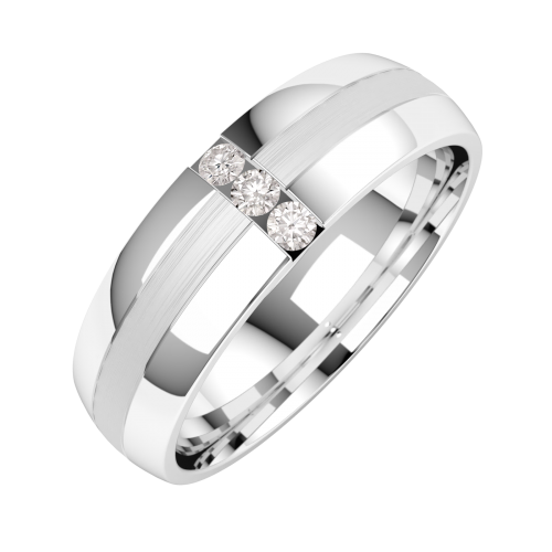 A striking Round Brilliant Cut diamond set mens ring in 18ct white gold