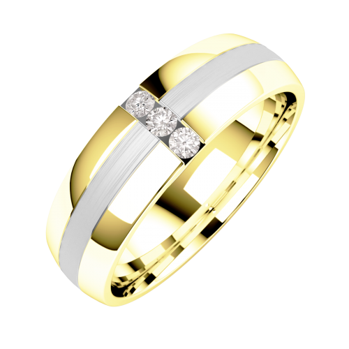 A striking Round Brilliant Cut diamond set mens ring in 18ct yellow & white gold