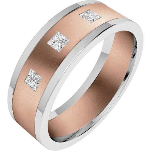 An eye catching Princess Cut diamond set mens ring in 18ct rose & white gold