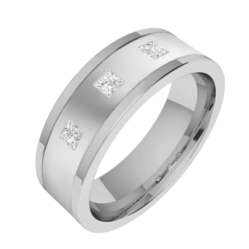 An eye catching Princess Cut diamond set mens ring in platinum