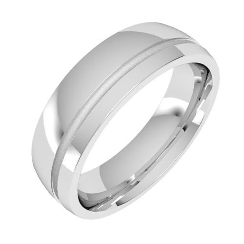 A stylish grooved mens ring in palladium