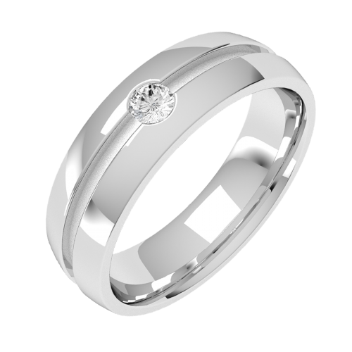 A classic Round Brilliant Cut diamond set mens ring in 18ct white gold