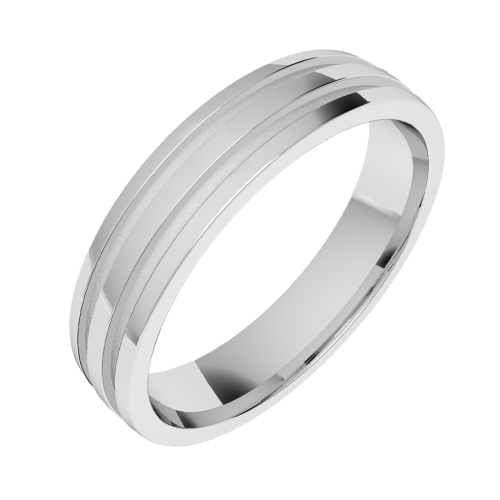A classic double grooved mens ring in 18ct white gold