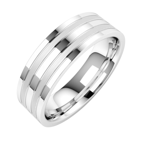A classic double grooved mens ring in palladium