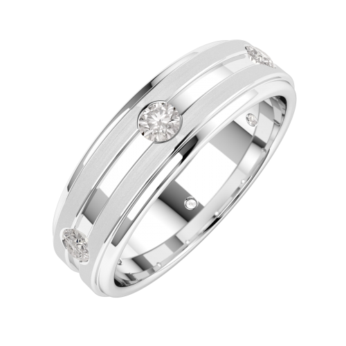 A stylish Round Brilliant Cut diamond set mens ring in platinum