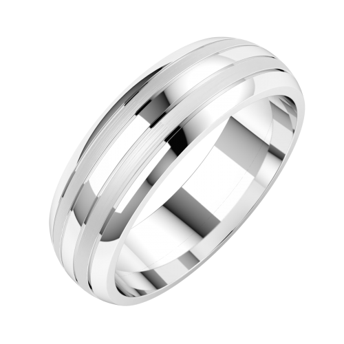 A stylish double grooved mens ring in platinum