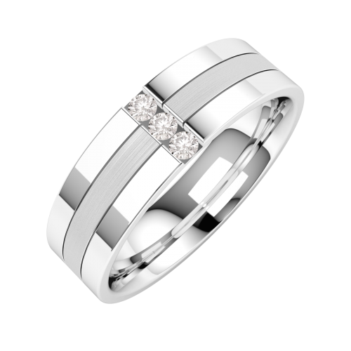 A striking Round Brilliant Cut diamond set mens wedding ring in palladium