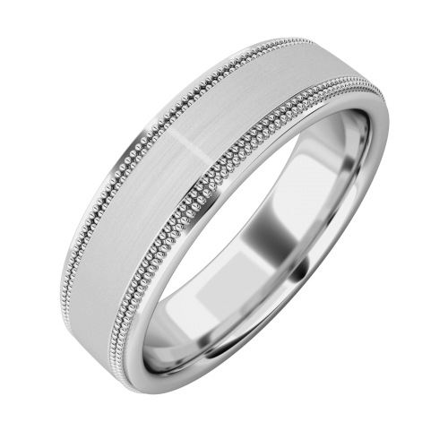 An eye catching mill-grained mens ring in 18ct white gold