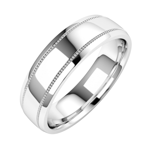An elegant mill-grained mens court ring in 18ct white gold