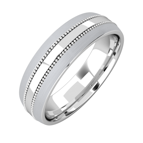 An elegant mill-grained court mens ring in medium 9ct white gold