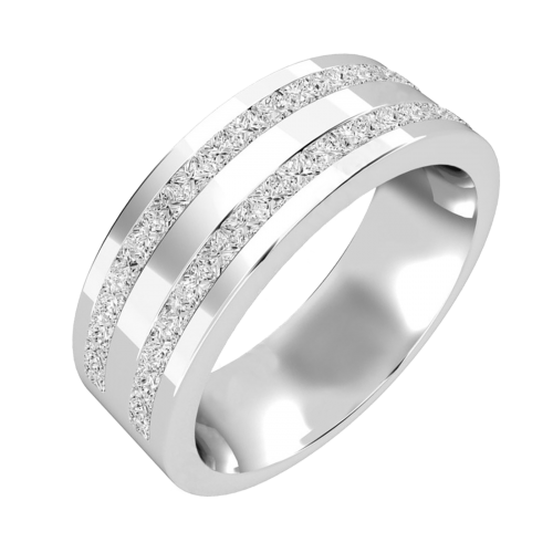 Double row diamond set mens ring in 18ct white gold PDWG089W