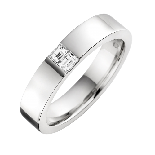 A stylish Baguette Cut diamond set mens ring in 18ct white gold
