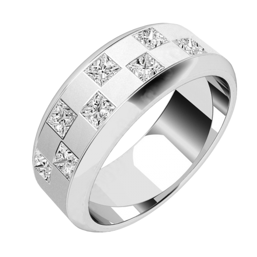 Chequerboard design diamond set mens ring in 18ct white gold