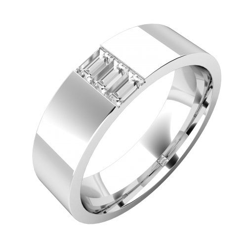 An elegant Baguette Cut diamond set mens ring in platinum