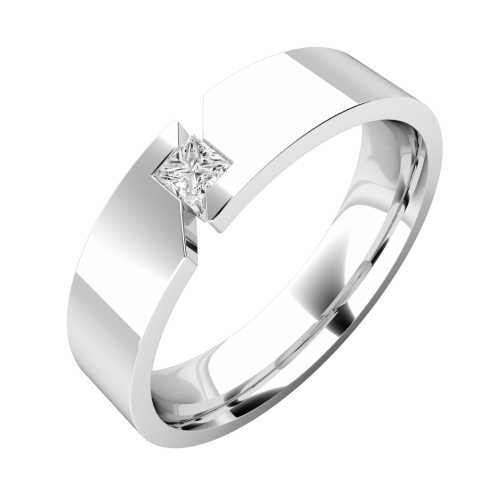 An elegant Princess Cut diamond set mens ring in 18ct white gold