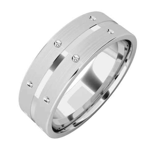 A beautiful mixed finish mens ring in 18ct white gold
