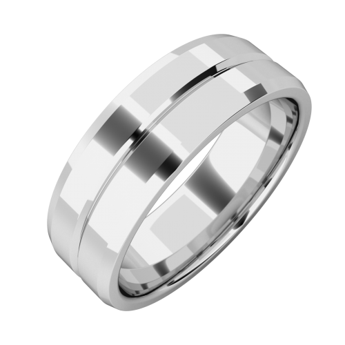 An elegant mens wedding ring in platinum