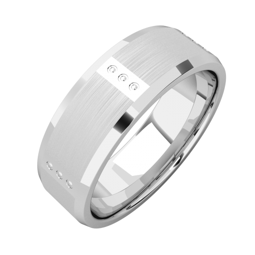 An impressive mixed finish mens ring in platinum