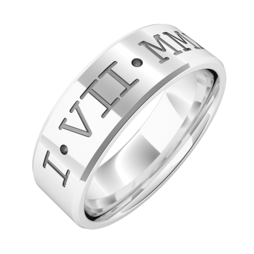 An impressive Roman numeral engraved mens wedding ring in 18ct white gold