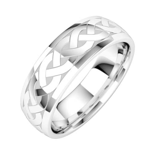A luxurious mixed finish mens wedding ring in platinum