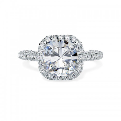 A stunning cushion cut diamond halo cluster in 18ct white gold