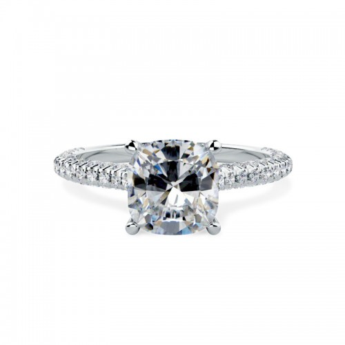 A stunning cushion cut diamond cluster ring in 18ct white gold