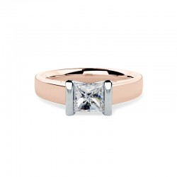 A beautiful princess cut solitaire diamond ring in 18ct rose & white gold
