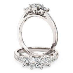 A stunning three stone Princess Cut diamond ring with shoulders stone in 18ct white gold
