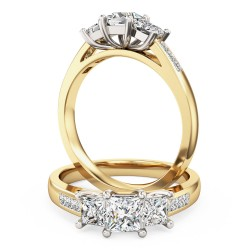 A stunning three stone princess cut diamond ring with shoulders stone in 18ct yellow & white gold