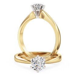 A timeless Round Cut solitaire diamond ring in 18ct yellow & white gold