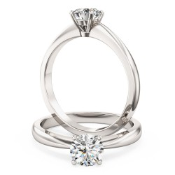 An elegant Round Brilliant Cut solitaire diamond ring in palladium