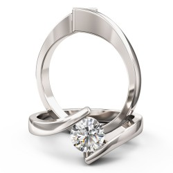 A striking Round Brilliant Cut twist diamond ring in platinum