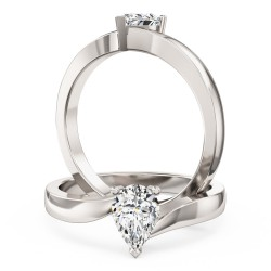 A stunning pear shaped twist diamond ring in 18ct white gold