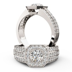 A magnificent Round Brilliant Cut cluster style diamond ring in platinum