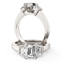 A wonderful emerald cut diamond ring with shoulder stones in platinum