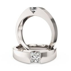 A striking tension set Princess Cut diamond ring in 9ct white gold