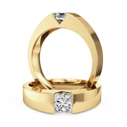 A striking tension set princess cut diamond ring in 18ct yellow gold
