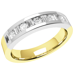 An eye-catching Baguette & Round Brilliant Cut diamond eternity ring in 18ct yellow & white gold