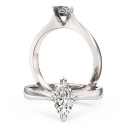 A stunning marquise cut solitaire diamond ring in 18ct white gold
